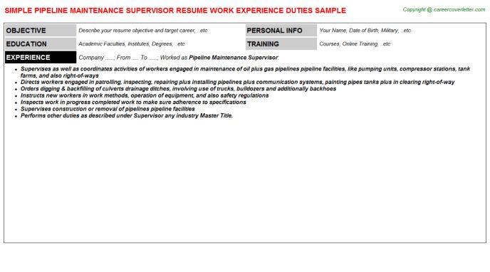 Pipeline Maintenance Supervisor Resume Sample