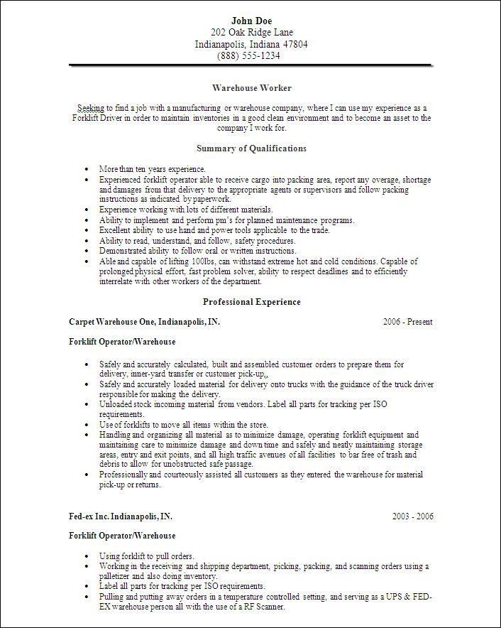 Warehouse Resume Samples Objective - Ecordura.com