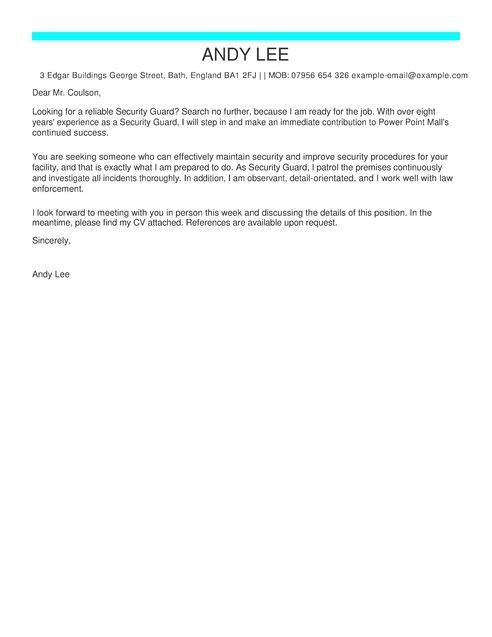 Security Guard Cover Letter Examples | LiveCareer