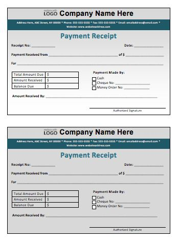 Payment Receipt Template – Microsoft Word Templates