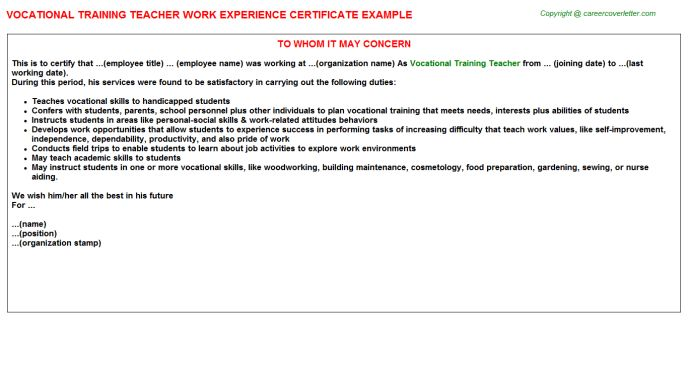 Vocational training certificate power plant training certificates vocational training teacher work experience certificate yadclub Gallery