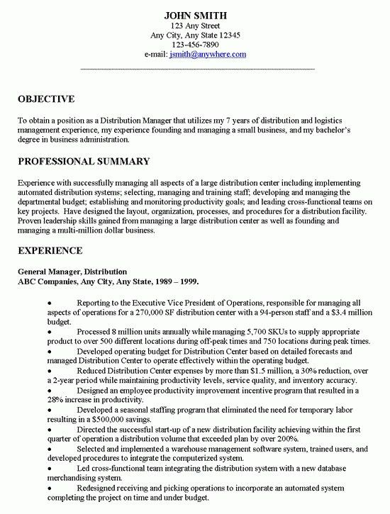 Sample Resume General Manager Production - Templates