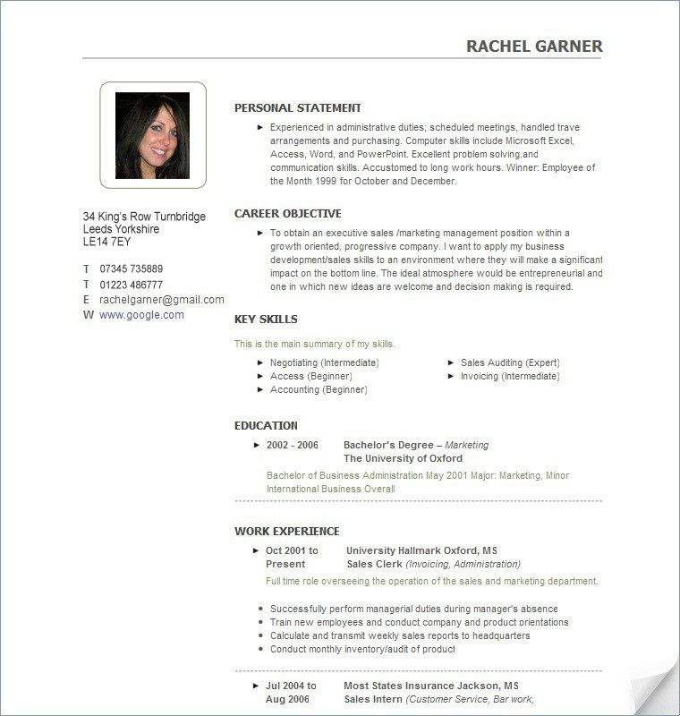 Free Sample CV Template #024 - http://topresume.info/2014/10/27 ...