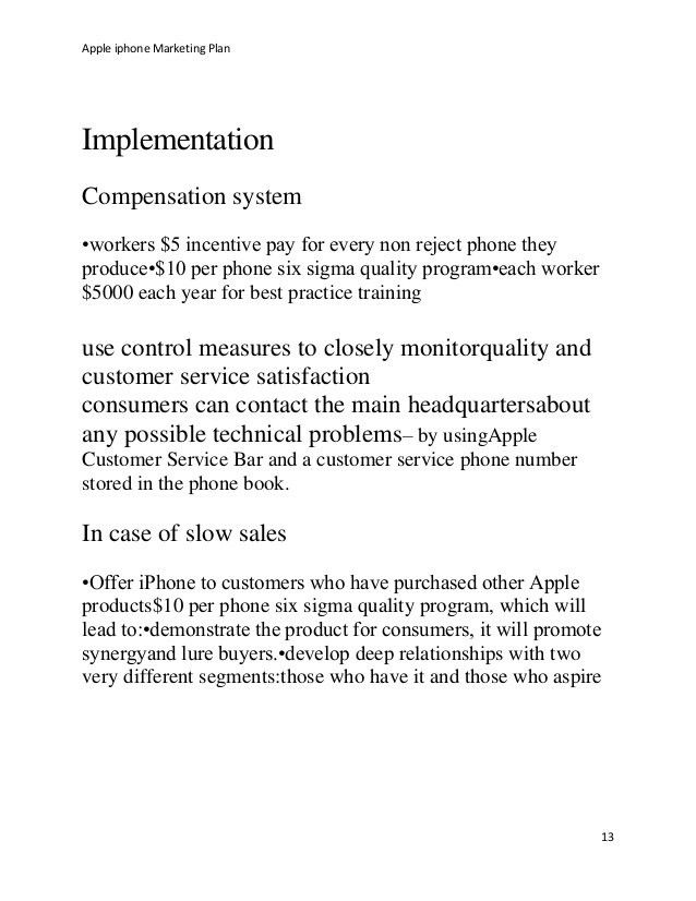 Apple i phone marketing plan
