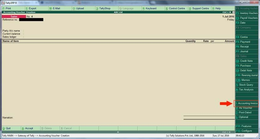 Sale entry,cash sale and credit sale in Tally erp 9