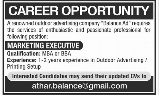 Marketing Executive Job, Balance Ad Outdoor Advertising Company ...