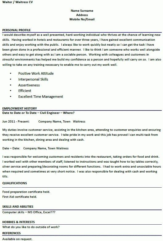 resume for waiter
