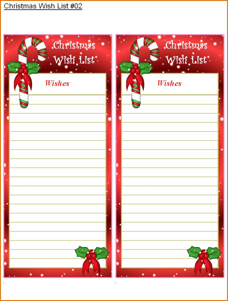 10+ christmas list template | Job Resumes Word