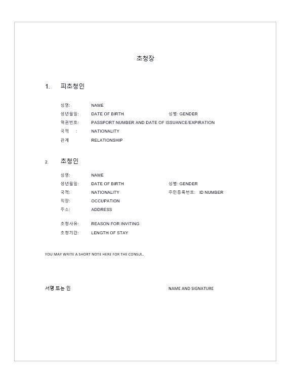 Sample Invitation Letter for Korean Tourist Visa - Buhay Korea