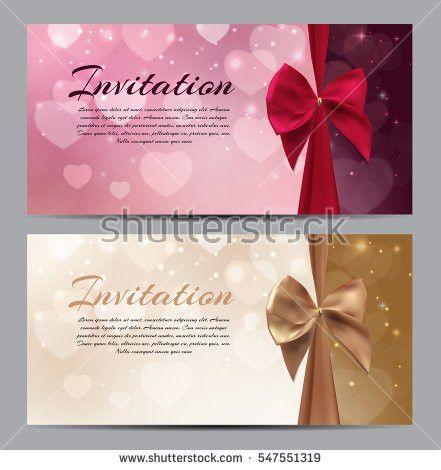 Invitation Template Corrugated Texture Border Bow Stock Vector ...