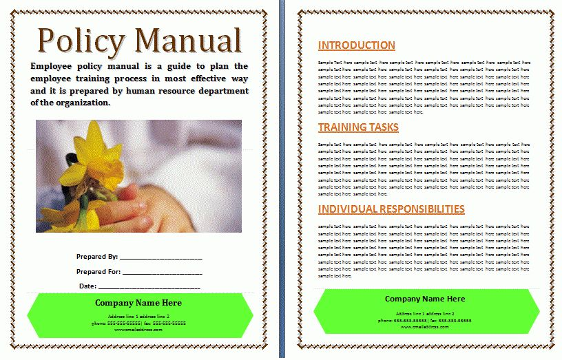 Policies and Procedures Manual Template | Free Manual Templates