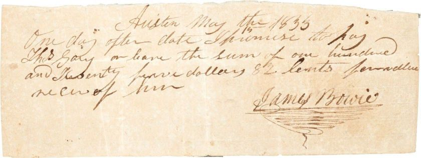 Scarce promissory note signed by Jim Bowie tops Texana sale ...