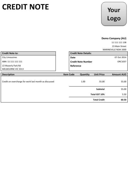 Credit-Note-2-Image | Bookkeeper Sunbury | Xero Certified Advisor ...