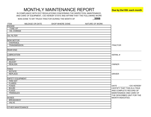 monthly maintenance report template sample : Helloalive