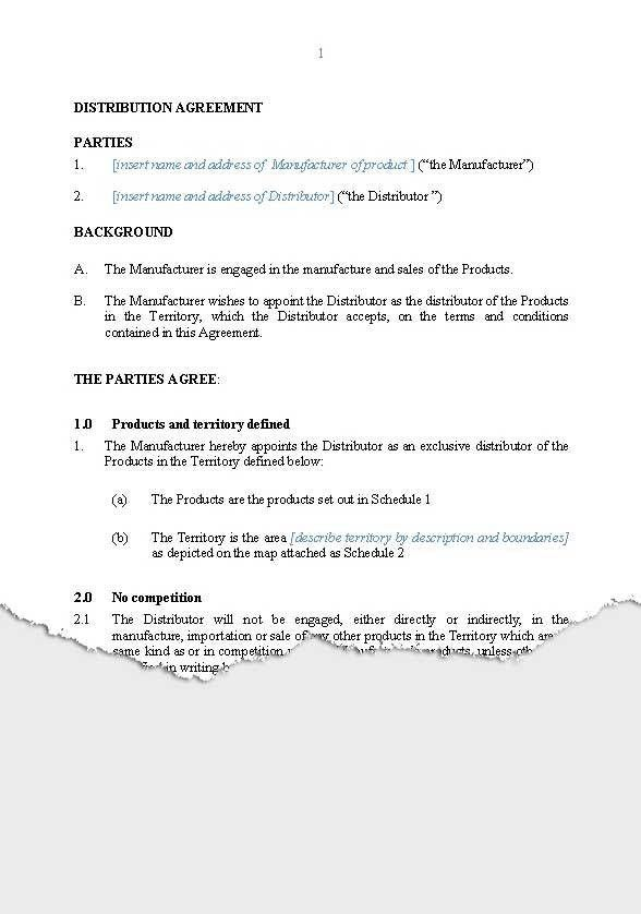 BUSINESS – Distribution   New Zealand Legal Documents, agreements ...
