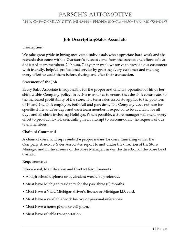 examples of job descriptions for resumes resume for a job example