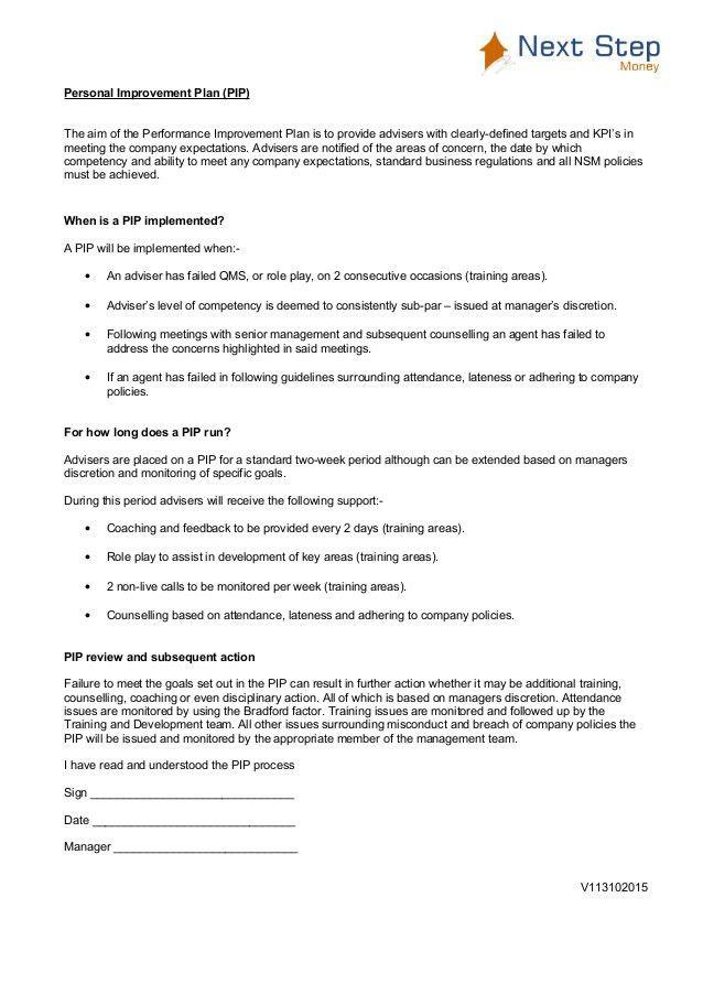 NSM PIP Procedure inc attendance
