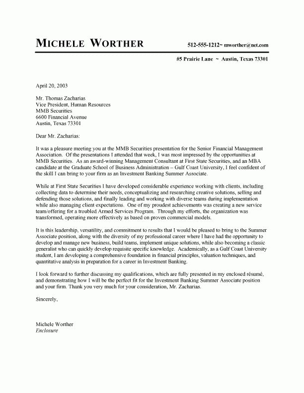 Cover Letter Sample For Internship | Experience Resumes