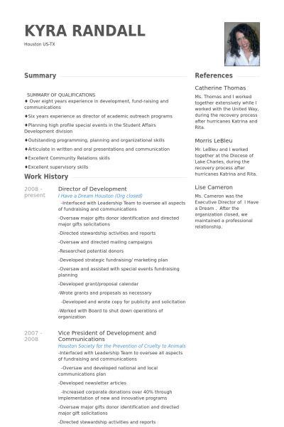 Director Of Development Resume samples - VisualCV resume samples ...