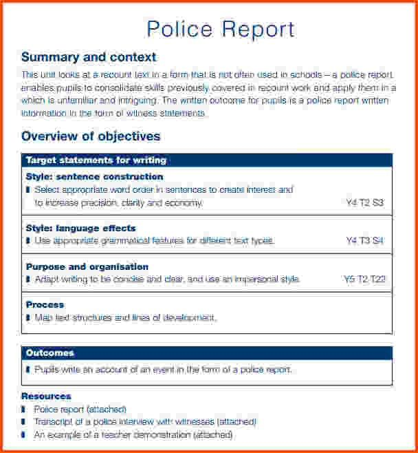 7+ police report template   Survey Template Words
