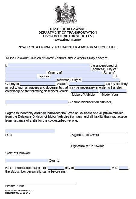 Free DMV Power of Attorney Form Delaware – PDF Template
