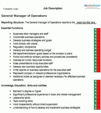 Job Description for a General Manager of Operations