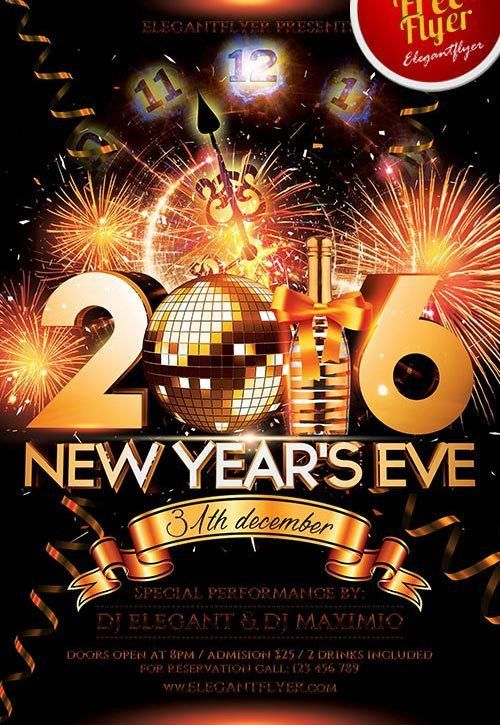 New Year Eve Free PSD Flyer Template - Download for Photoshop