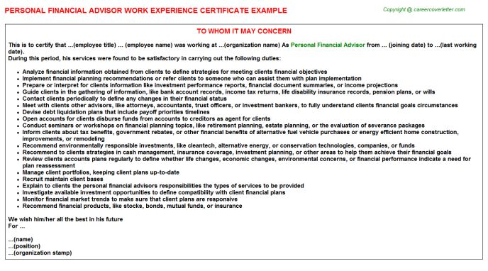 Personal Financial Advisor Work Experience Certificate