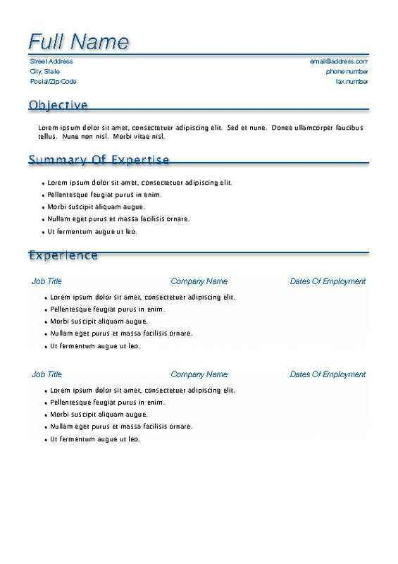 Resume Examples. truly 10 free download template resume preview ...
