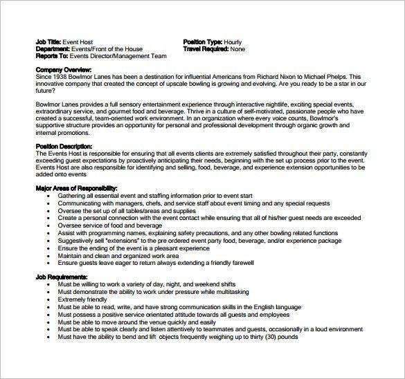 9+ Hostess Job Description Templates – Free Sample, Example ...