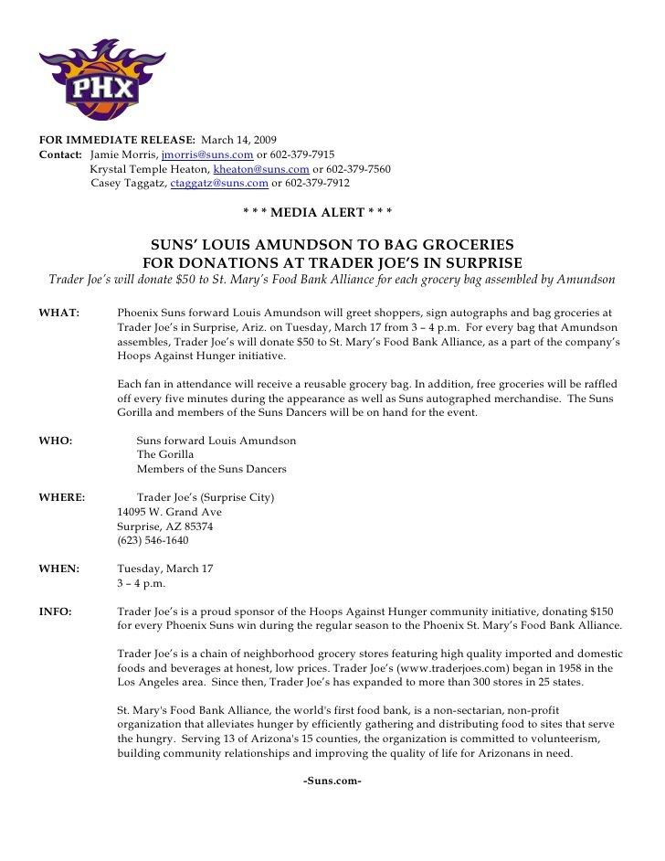 Sample Press Release for Phoenix Suns