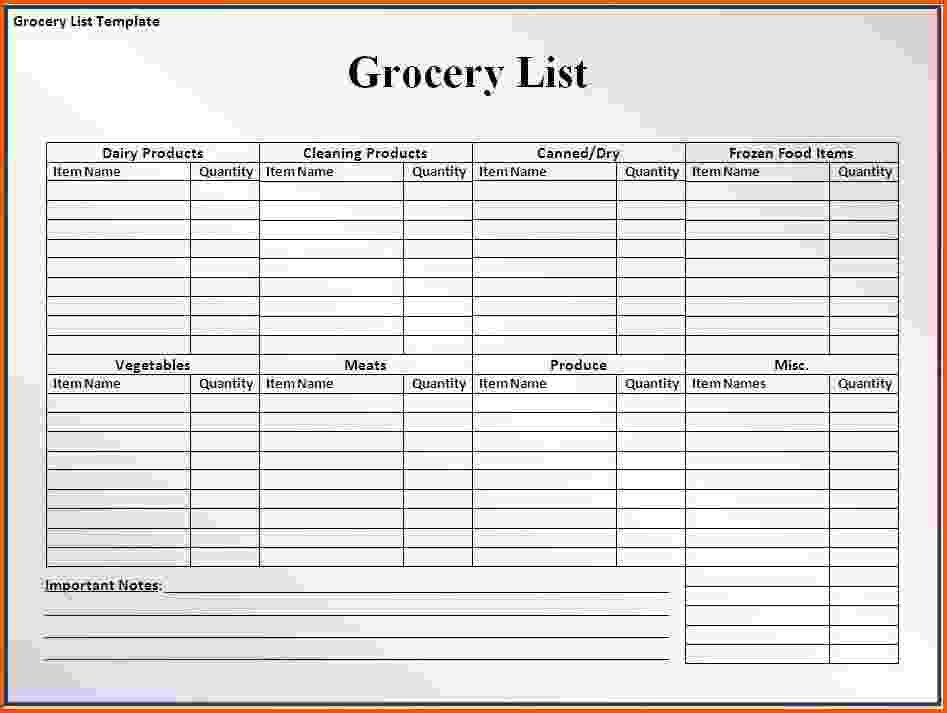 7+ grocery list template word | Survey Template Words