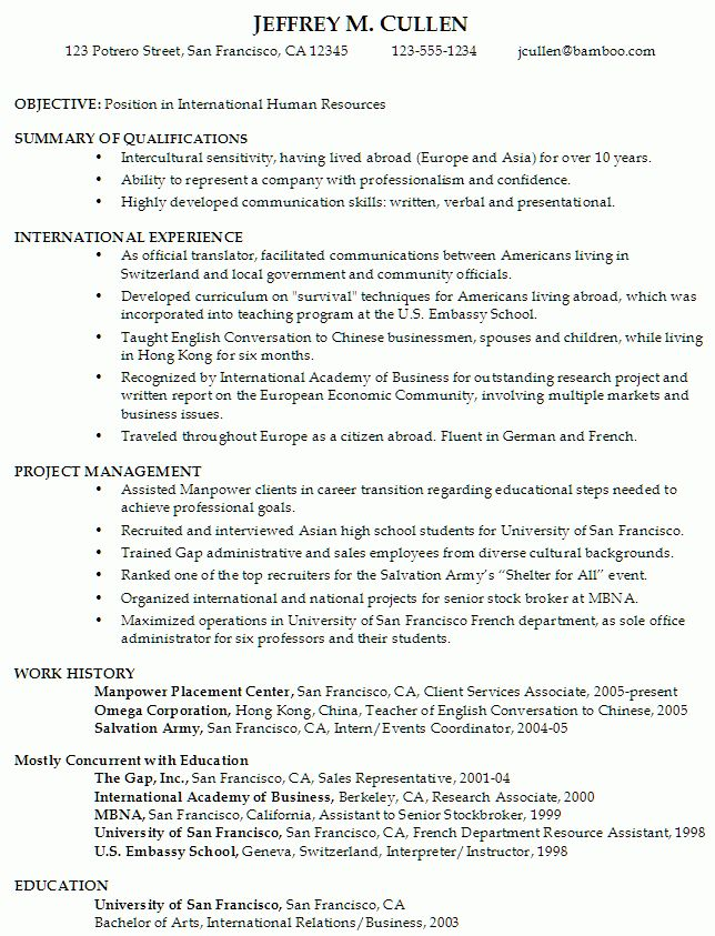 Resume for International Human Resources - Susan Ireland Resumes