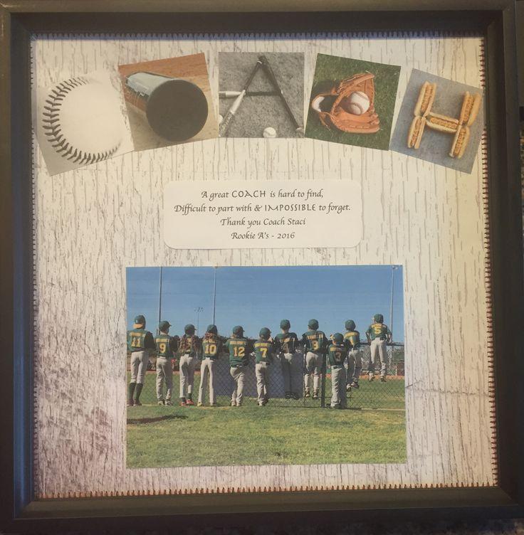 Made this for my sons baseball coach. Frame is 12x12 and fit a ...