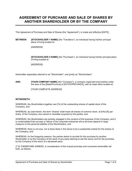 Agreement of Purchase and Sale of Shares by Shareholder - Template ...