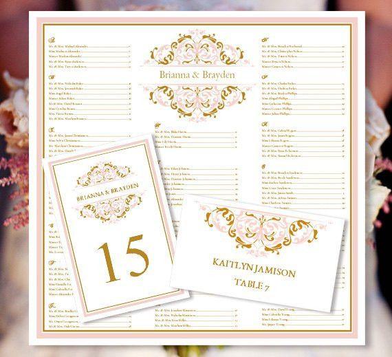 "Wedding Seating Chart ""Grace"" Blush Pink & Gold Templates w ..."