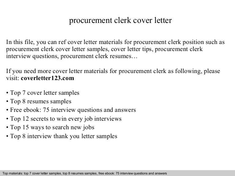 Procurement clerk cover letter