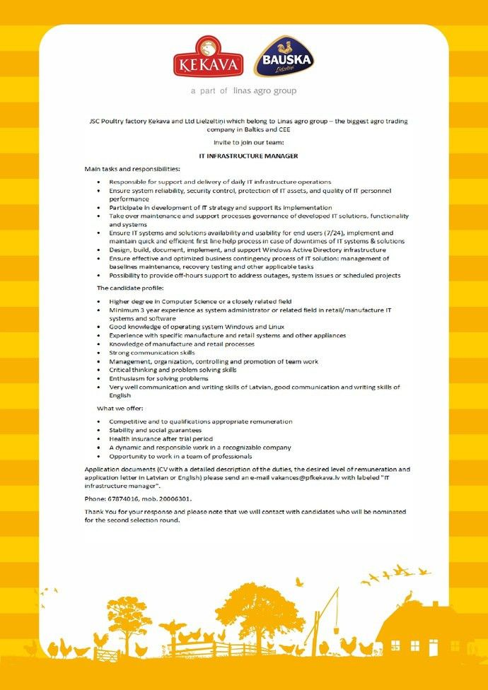 Job ad - IT INFRASTRUCTURE MANAGER, Ķekava, Full-time work, Putnu ...
