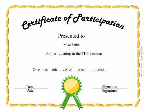 Participation Certificate | Templates Docs