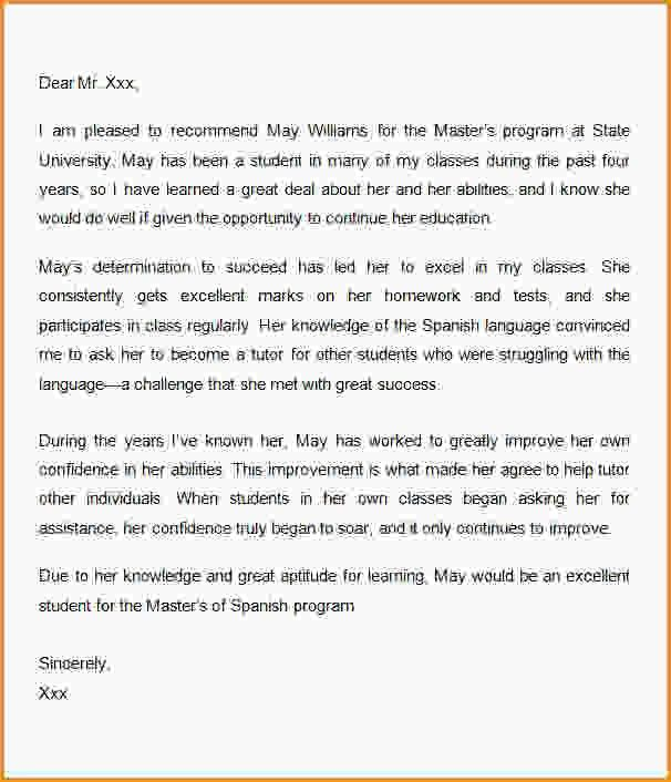Sample Graduate School Recommendation Letter. 10 Letters Of ...