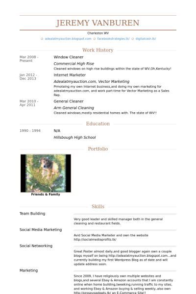 Limpiador Ejemplo de currículum - Base de datos de VisualCV ...