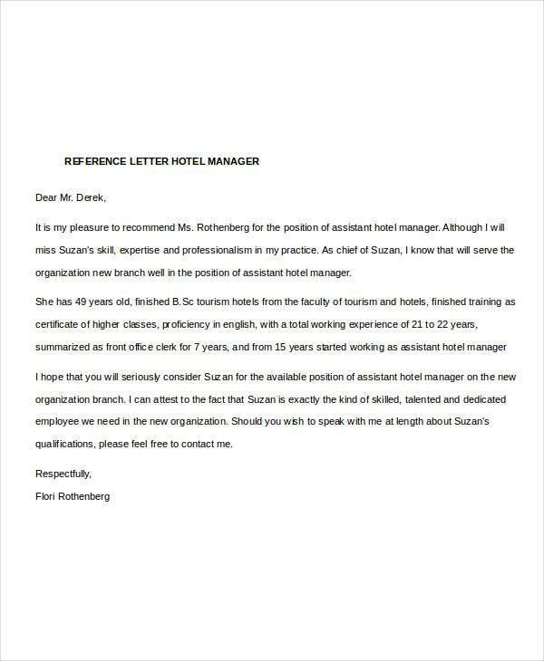 Collection of Solutions Sample Reference Letter For Hotel Employee ...