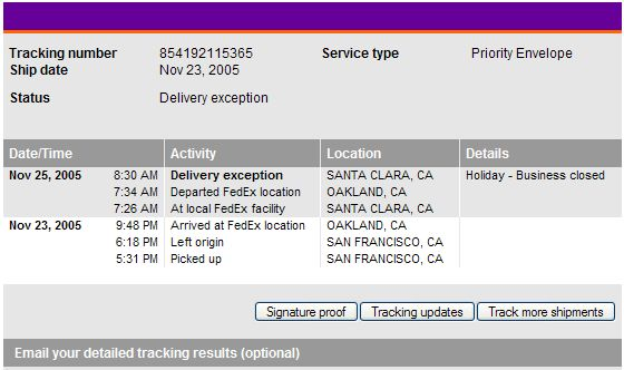 Tracking Number Example