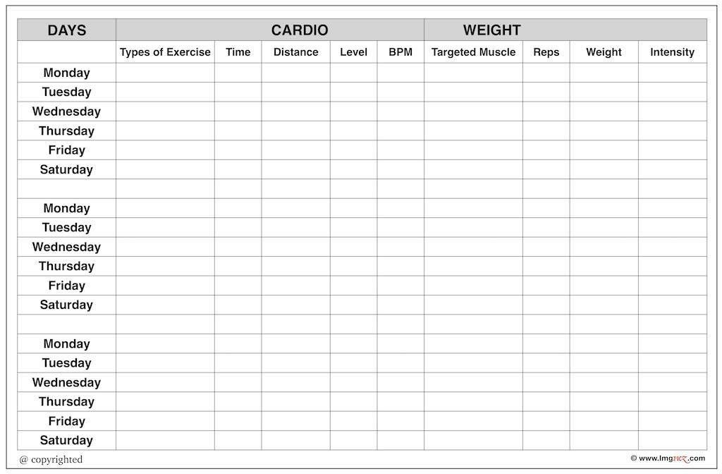 Blank Workout Chart Template For Gym | Free Printable Worksheet