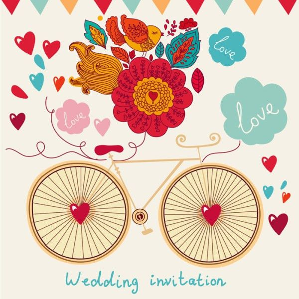 Romantic wedding invitation card template free vector download ...