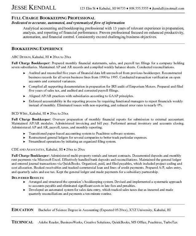 bookkeeper resume sample online. gallery photos of bookkeeper ...