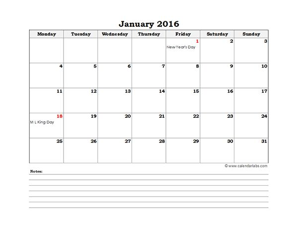 2016 Excel Monthly Calendar 01 - Free Printable Templates
