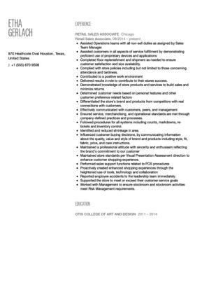 Sales Associate Resume Sample | Velvet Jobs