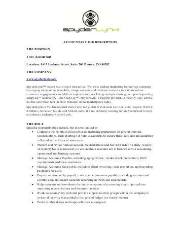 Accountant Job Description. 13 Job Description Templates Free ...