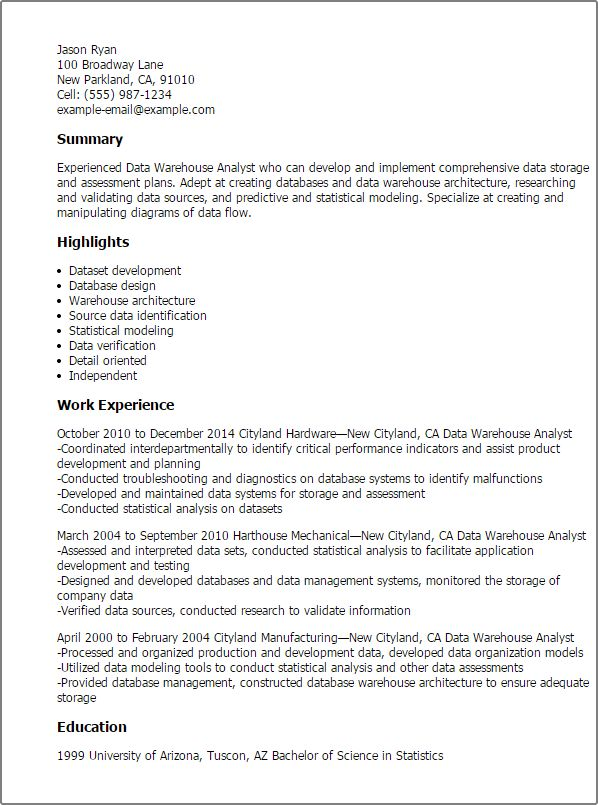 Data Warehouse Project Manager Cover Letter